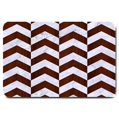 Chevron2 White Marble & Reddish Brown Wood Large Doormat  by trendistuff