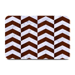 Chevron2 White Marble & Reddish Brown Wood Plate Mats by trendistuff