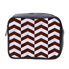 Chevron2 White Marble & Reddish Brown Wood Mini Toiletries Bag 2 Side by trendistuff