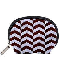 Chevron2 White Marble & Reddish Brown Wood Accessory Pouches (small)  by trendistuff