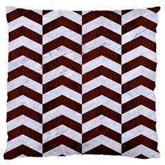 Chevron2 White Marble & Reddish Brown Wood Large Flano Cushion Case (two Sides) by trendistuff