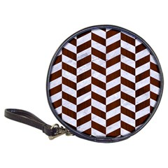 Chevron1 White Marble & Reddish Brown Wood Classic 20 Cd Wallets by trendistuff