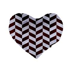 Chevron1 White Marble & Reddish Brown Wood Standard 16  Premium Flano Heart Shape Cushions by trendistuff