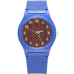 Brick1 White Marble & Reddish Brown Wood Round Plastic Sport Watch (s) by trendistuff