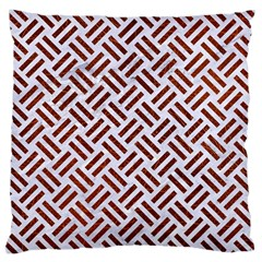 Woven2 White Marble & Reddish Brown Leather (r) Large Cushion Case (one Side)
