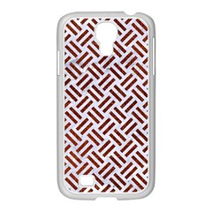 Woven2 White Marble & Reddish Brown Leather (r) Samsung Galaxy S4 I9500/ I9505 Case (white) by trendistuff