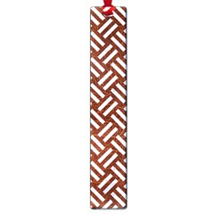 Woven2 White Marble & Reddish Brown Leather Large Book Marks by trendistuff