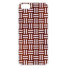 Woven1 White Marble & Reddish Brown Leather Apple Iphone 5 Seamless Case (white) by trendistuff