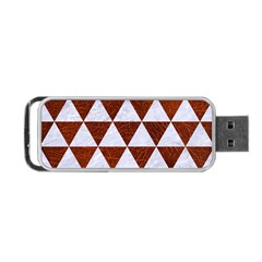 Triangle3 White Marble & Reddish Brown Leather Portable Usb Flash (two Sides) by trendistuff