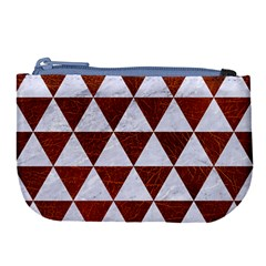 Triangle3 White Marble & Reddish Brown Leather Large Coin Purse by trendistuff
