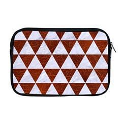 Triangle3 White Marble & Reddish Brown Leather Apple Macbook Pro 17  Zipper Case by trendistuff