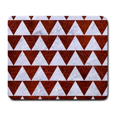 Triangle2 White Marble & Reddish Brown Leather Large Mousepads