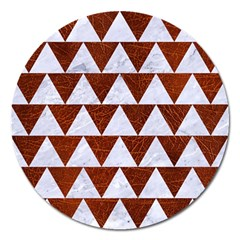 Triangle2 White Marble & Reddish Brown Leather Magnet 5  (round)