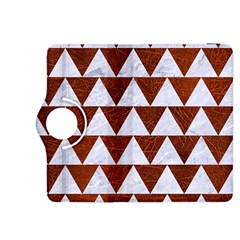 Triangle2 White Marble & Reddish Brown Leather Kindle Fire Hdx 8 9  Flip 360 Case by trendistuff
