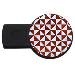 Triangle1 White Marble & Reddish Brown Leather Usb Flash Drive Round (2 Gb) by trendistuff