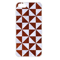 Triangle1 White Marble & Reddish Brown Leather Apple Iphone 5 Seamless Case (white)