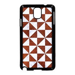 Triangle1 White Marble & Reddish Brown Leather Samsung Galaxy Note 3 Neo Hardshell Case (black) by trendistuff