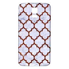 Tile1 White Marble & Reddish Brown Leather (r) Samsung Galaxy S5 Back Case (white) by trendistuff