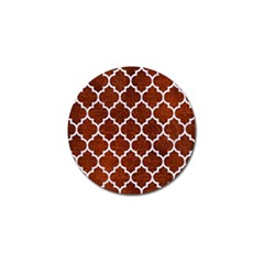 Tile1 White Marble & Reddish Brown Leather Golf Ball Marker by trendistuff
