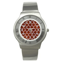 Tile1 White Marble & Reddish Brown Leather Stainless Steel Watch by trendistuff