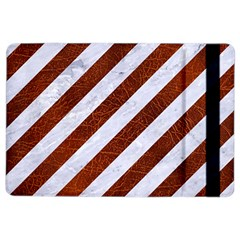 Stripes3 White Marble & Reddish Brown Leather (r) Ipad Air 2 Flip