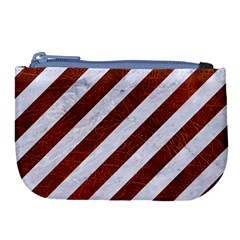 Stripes3 White Marble & Reddish Brown Leather (r) Large Coin Purse by trendistuff
