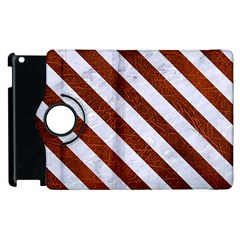 Stripes3 White Marble & Reddish Brown Leather Apple Ipad 2 Flip 360 Case by trendistuff