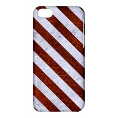 Stripes3 White Marble & Reddish Brown Leather Apple Iphone 5c Hardshell Case by trendistuff