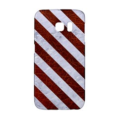 Stripes3 White Marble & Reddish Brown Leather Galaxy S6 Edge by trendistuff