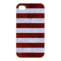 Stripes2white Marble & Reddish Brown Leather Apple Iphone 4/4s Hardshell Case by trendistuff