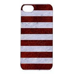 Stripes2white Marble & Reddish Brown Leather Apple Iphone 5s/ Se Hardshell Case