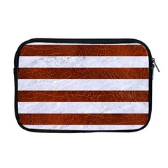 Stripes2white Marble & Reddish Brown Leather Apple Macbook Pro 17  Zipper Case by trendistuff