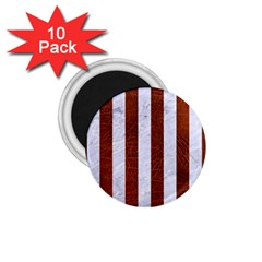 Stripes1 White Marble & Reddish Brown Leather 1 75  Magnets (10 Pack)  by trendistuff