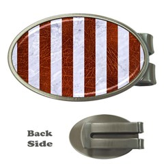Stripes1 White Marble & Reddish Brown Leather Money Clips (oval)  by trendistuff