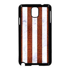 Stripes1 White Marble & Reddish Brown Leather Samsung Galaxy Note 3 Neo Hardshell Case (black) by trendistuff
