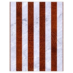 Stripes1 White Marble & Reddish Brown Leather Drawstring Bag (large) by trendistuff