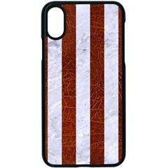Stripes1 White Marble & Reddish Brown Leather Apple Iphone X Seamless Case (black)