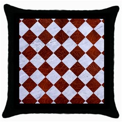 Square2 White Marble & Reddish Brown Leather Throw Pillow Case (black)