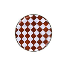 Square2 White Marble & Reddish Brown Leather Hat Clip Ball Marker by trendistuff