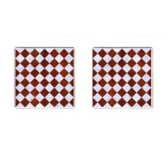 Square2 White Marble & Reddish Brown Leather Cufflinks (square) by trendistuff