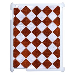 Square2 White Marble & Reddish Brown Leather Apple Ipad 2 Case (white) by trendistuff