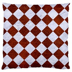 Square2 White Marble & Reddish Brown Leather Large Flano Cushion Case (two Sides) by trendistuff