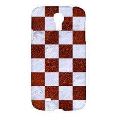 Square1 White Marble & Reddish Brown Leather Samsung Galaxy S4 I9500/i9505 Hardshell Case by trendistuff