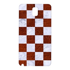 Square1 White Marble & Reddish Brown Leather Samsung Galaxy Note 3 N9005 Hardshell Back Case by trendistuff