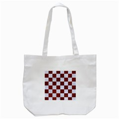 Square1 White Marble & Reddish Brown Leather Tote Bag (white) by trendistuff