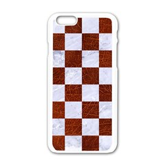 Square1 White Marble & Reddish Brown Leather Apple Iphone 6/6s White Enamel Case by trendistuff