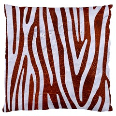 Skin4 White Marble & Reddish Brown Leather (r) Large Cushion Case (one Side)