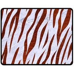 Skin3 White Marble & Reddish Brown Leather (r) Fleece Blanket (medium)  by trendistuff