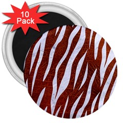 Skin3 White Marble & Reddish Brown Leather 3  Magnets (10 Pack)  by trendistuff