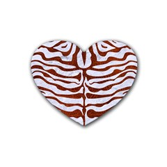Skin2 White Marble & Reddish Brown Leather (r) Rubber Coaster (heart)  by trendistuff